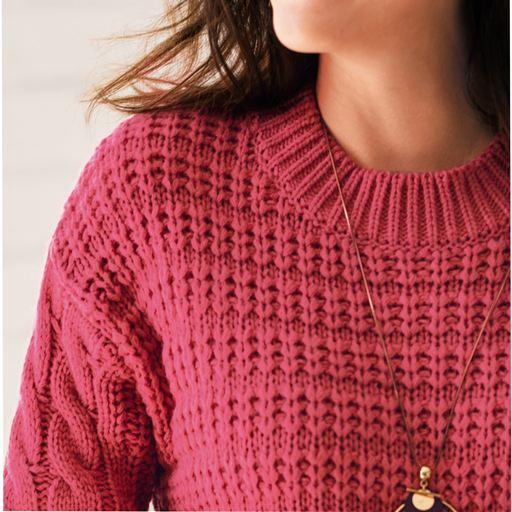 珊瑚粉色針織面料,帶有堅實的感覺點