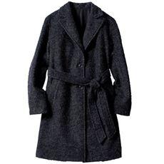 ウール混コート(共布ベルト付き)(防風)