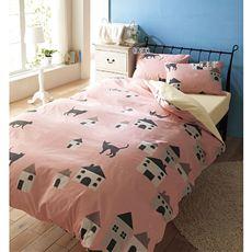 日本製綿100%枕カバー(同色2枚組)(ネコ柄/北欧風フォレスト柄)