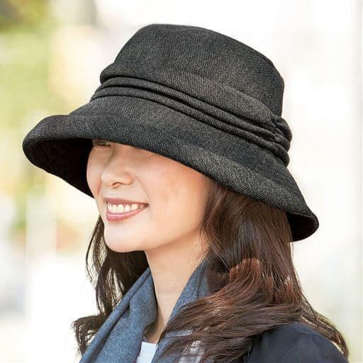 小顔に見える発熱蓄熱UVギャザー帽子<美活計画>