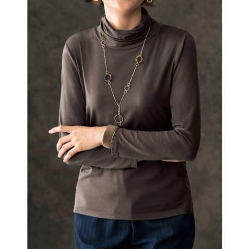 【人気商品】しなやかな肌ざわりは着る人を魅了する。大人気、日本製テンセル™シリーズ。オフタートルの長袖Tシャツ。
