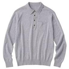 洗えるニットポロシャツ。チクチクしにくいウール混ニット素材を使用