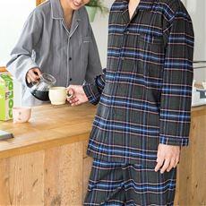 綿100%ネル先染めチェックあったかシャツパジャマ(男女兼用)