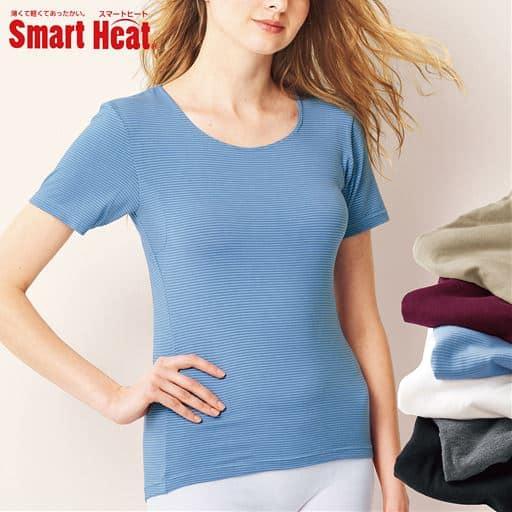 薄い、軽い、着た瞬間からあったかい、 新「スマートヒート®」の衿ぐり狭めの3分袖インナー