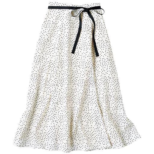 リボンベルト付き水玉フレアスカート