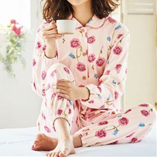 花柄ニットシャツパジャマ(綿100%)