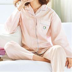 ストライプサテンパジャマ(綿100%・日本製)