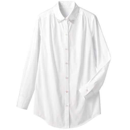 衿ビジュー付ロングシャツ