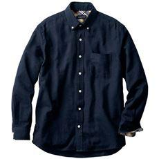 綿100%のあったか微起毛素材 無地調フランネルシャツ