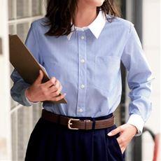 形態安定シャツ(長袖)(UVカット・抗菌防臭)■グラマー用サイズ有(胸のサイズで選べる)■