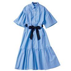 ティアードがフェミニン♪ロング丈のシャツ素材ワンピ
