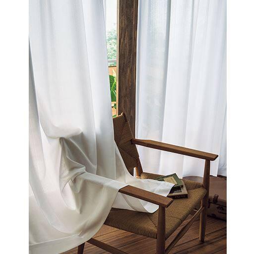 UV約92%カットする無地調のミラーレースカーテン。