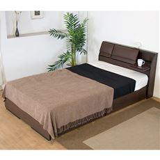 フラップテーブルにもなる背もたれパット 引出付ベッド