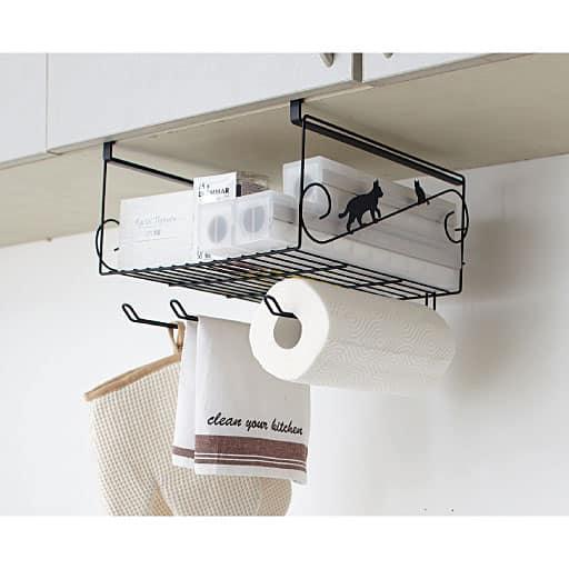 吊り戸棚下を可愛く、しかも使える収納スペースに!