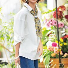 スカーフ付きロングシャツ(綿100%)