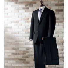 ウール混ヨコストレッチアジャスター付きツーパンツスーツ