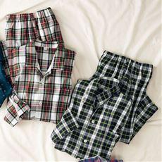 綿100%ビエラ先染めシャツパジャマ(男女兼用)