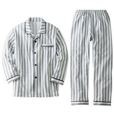 綿混シャツパジャマ・ニット(男女兼用)