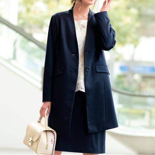 【大きいサイズ プランプ】きれいな縦ラインを意識したロング丈のジャケットです