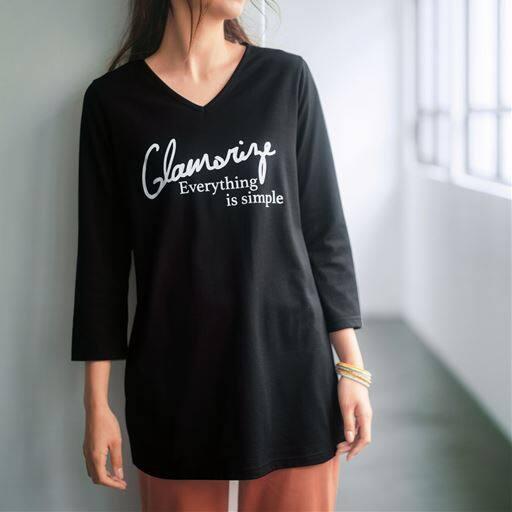 【大きいサイズ プランプ】着ごこちの良さと着回ししやすいデザインで、何枚あっても嬉しい7分袖VネックTシャツです