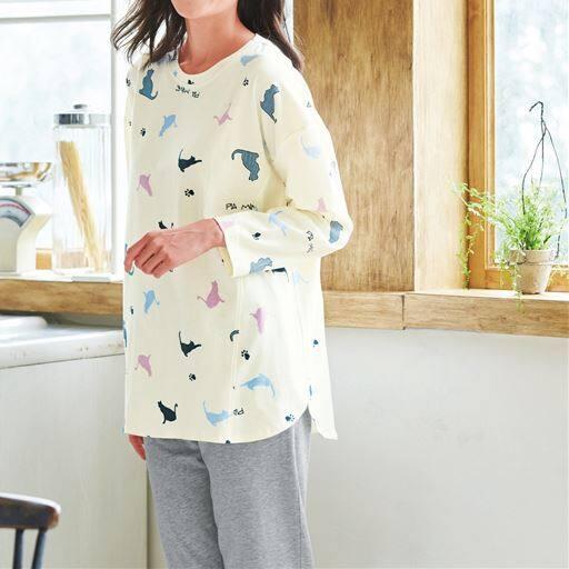 【大きいサイズ プランプ】ネコ柄がかわいいゆるっとシルエットの綿100%パジャマ。