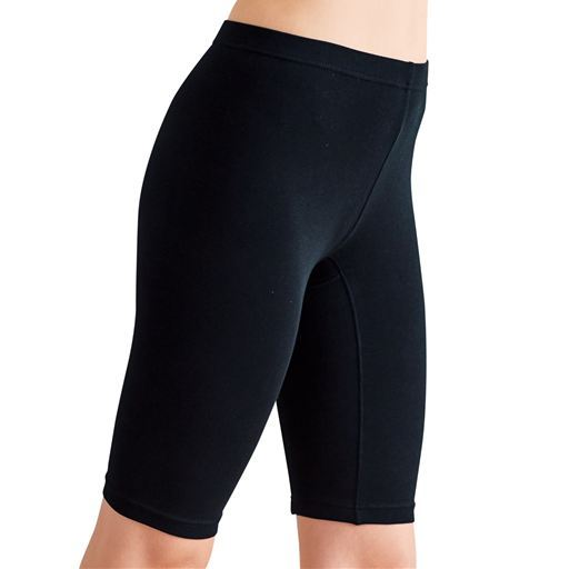 【大きいサイズ プランプ】足汗や股ずれ防止におすすめ!綿混素材の5分丈スパッツ・2枚組。