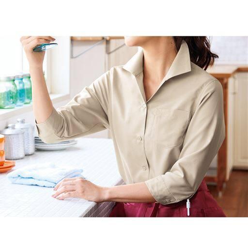 レディスシャツ(7分袖)(速乾)