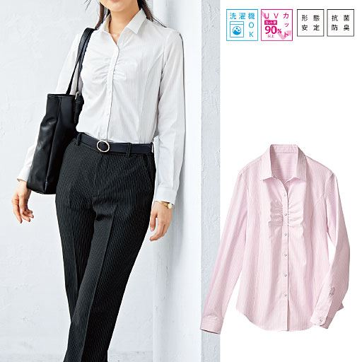 形態安定胸元ギャザーシャツ(長袖)(抗菌防臭・UVカット)