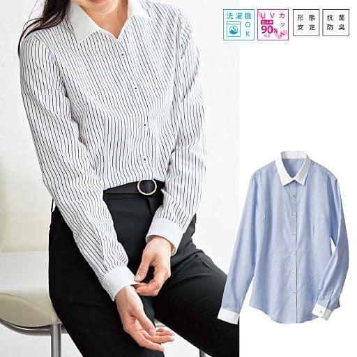 形態安定クレリックシャツ(長袖)(抗菌防臭・UVカット)
