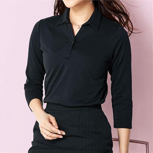 透けにくい衿付きプルオーバー(7分袖)(洗濯機OK)