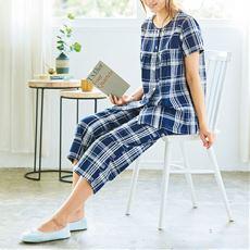 夏の素肌にシャリッとベタつかない!着心地さわやかな綿100%サッカー素材のかわいいパジャマ