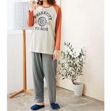 ロゴTタイプ長袖パジャマ(メンズサイズ・綿100%)