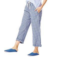 ゆったり、らくちん!快適で涼しいから、夏のルームウェアにおすすめ!人気の綿100%ロング丈コットンパンツ。無地とギンガムチェックから。トールサイズもあります