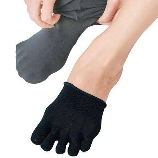これは便利!重ね履きしてムレ、冷え防止に!と評判の5本指ハーフソックス同色2足組
