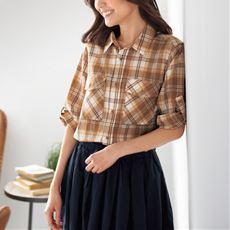 羽織りとしても使えるサファリシャツ(7分袖)(綿100%)