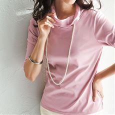 シフォン衿7分袖プルオーバー(綿100%)