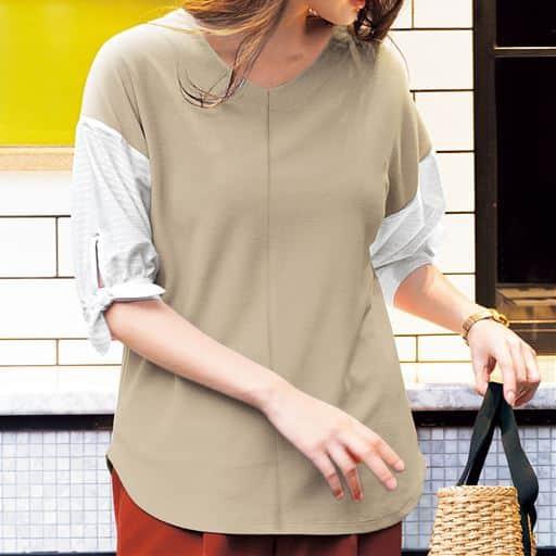 汗ジミ防止機能付きのバンセルクールと異素材を組み合わせたデザインプルオーバー。袖口のリボンとふんわりスリーブで女性らしさをオン