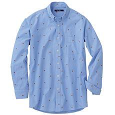 綿100%先染めストライプ+プリント素材のシャツ(長袖)