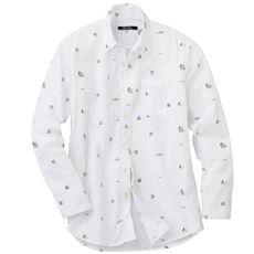 リゾートプリント綿100%シャンブレー素材のシャツ(長袖)