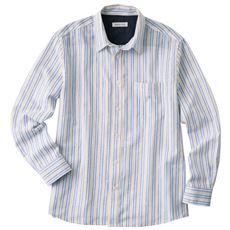フレンチリネンブレンドの先染めストライプシャツ(長袖)