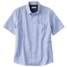 フレンチリネンブレンドの先染めストライプシャツ(半袖)