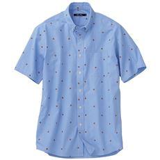 綿100%先染めストライプ+プリント素材のシャツ(半袖)
