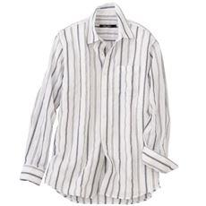綿100%絡み織り素材のストライプ柄シャツ(長袖)