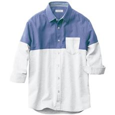 人気デザイン、切替仕様のパナマ織り素材シャツ(7分袖)
