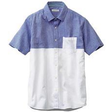 人気の切替デザインで仕上げたパナマ織りシャツ(半袖)