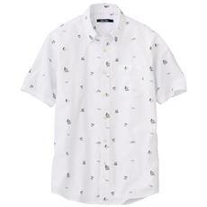 リゾートプリント綿100%シャンブレー素材のシャツ(半袖)