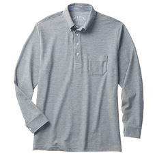 ボタンダウンタイプのドライ鹿の子素材ポロシャツ(長袖)