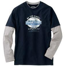 綿100%素材のフェイクレイヤードデザイン プリントTシャツ