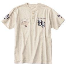 綿100%刺繍使いヘンリーネックTシャツ(半袖)