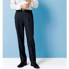 ウエスト調整仕様のウォッシャブルスラックス(ツータック)吸汗速乾機能付き メンズパンツ